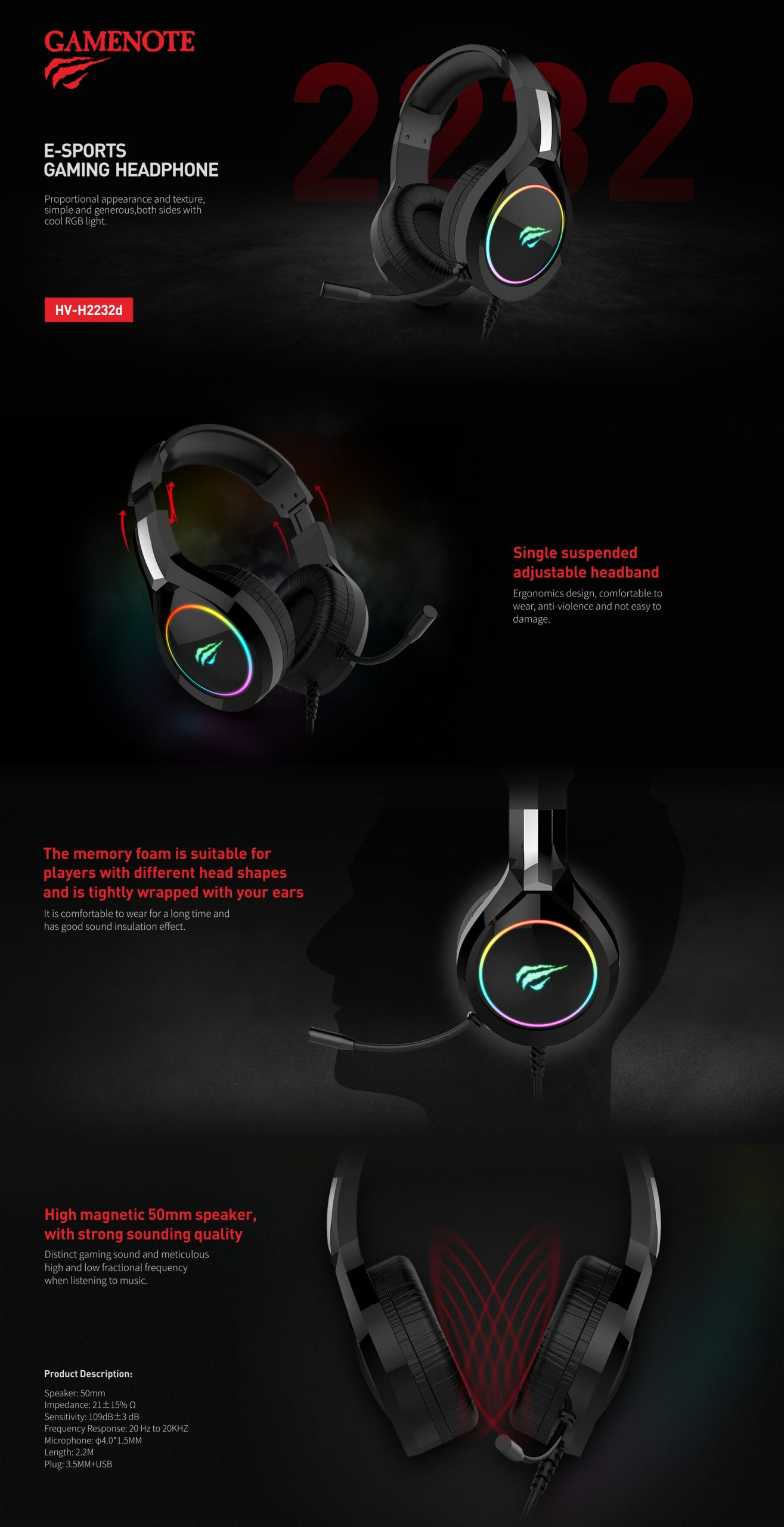 HAVIT® HV-H2232D E-SPORTS GAMING HEADPHONE