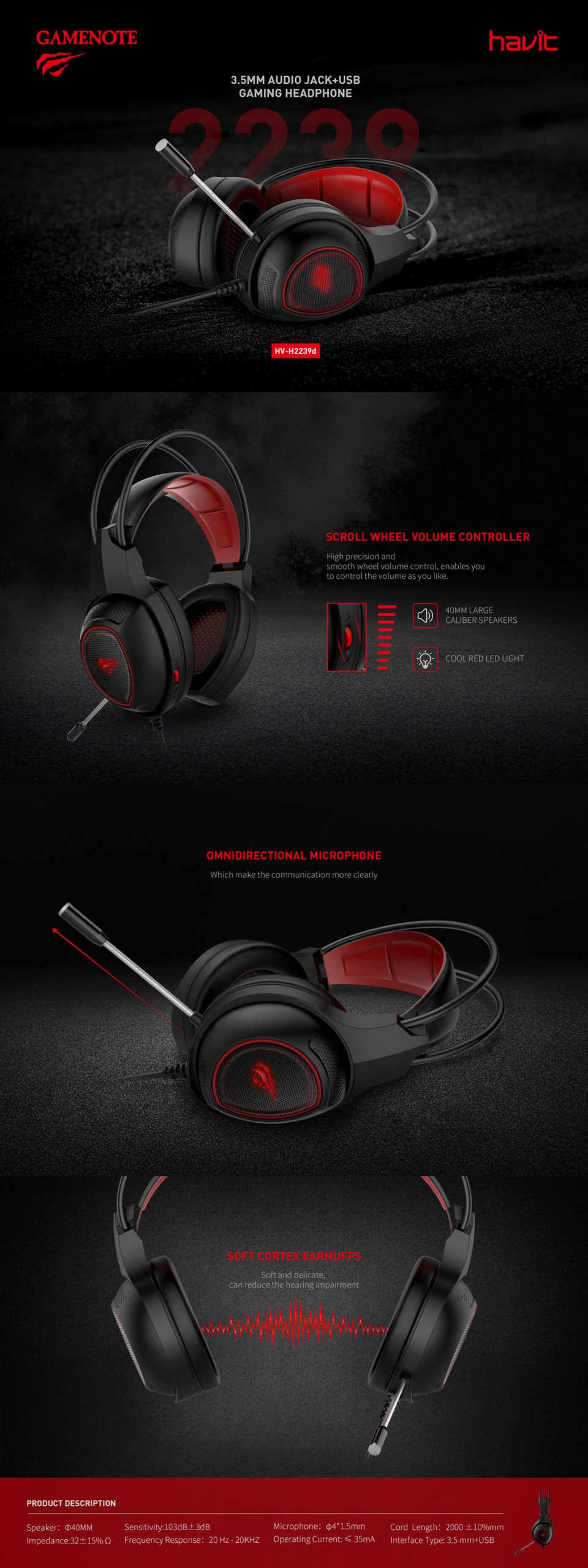 HV-H2239D 3.5mm + USB Gaming Headphone