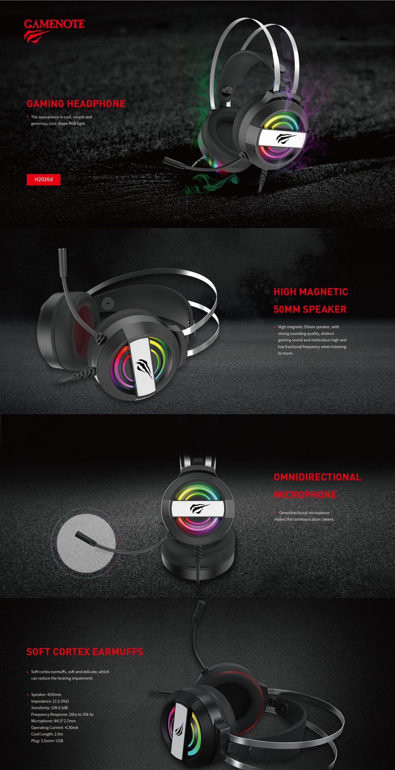HAVIT head-band RGB-gaming headphone wired headset 3.5mm with microphone H2026d