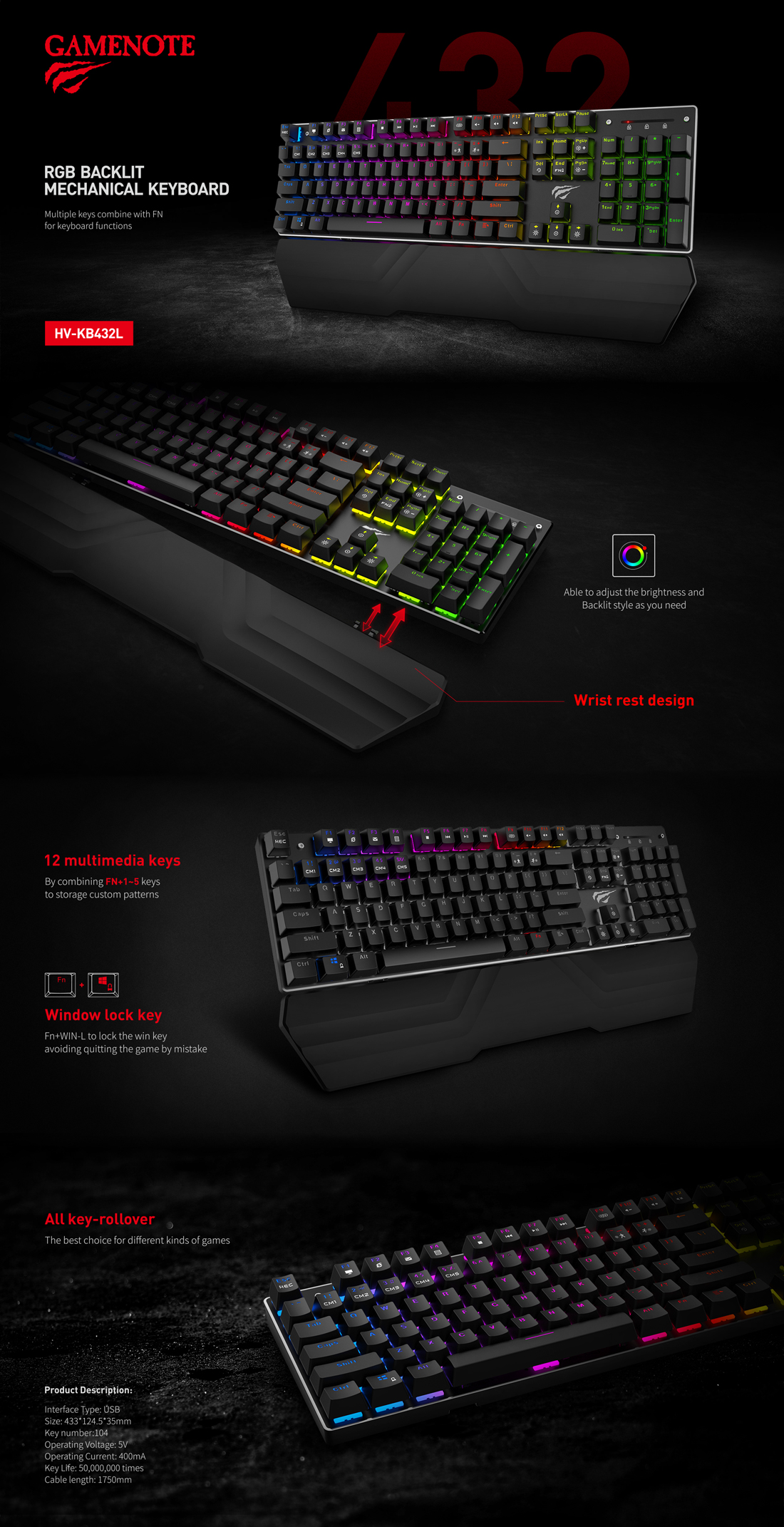 HAVIT GAMENOTE kb432l RGB Backlit Mechanical Gaming Keyboard With Wrist Pad