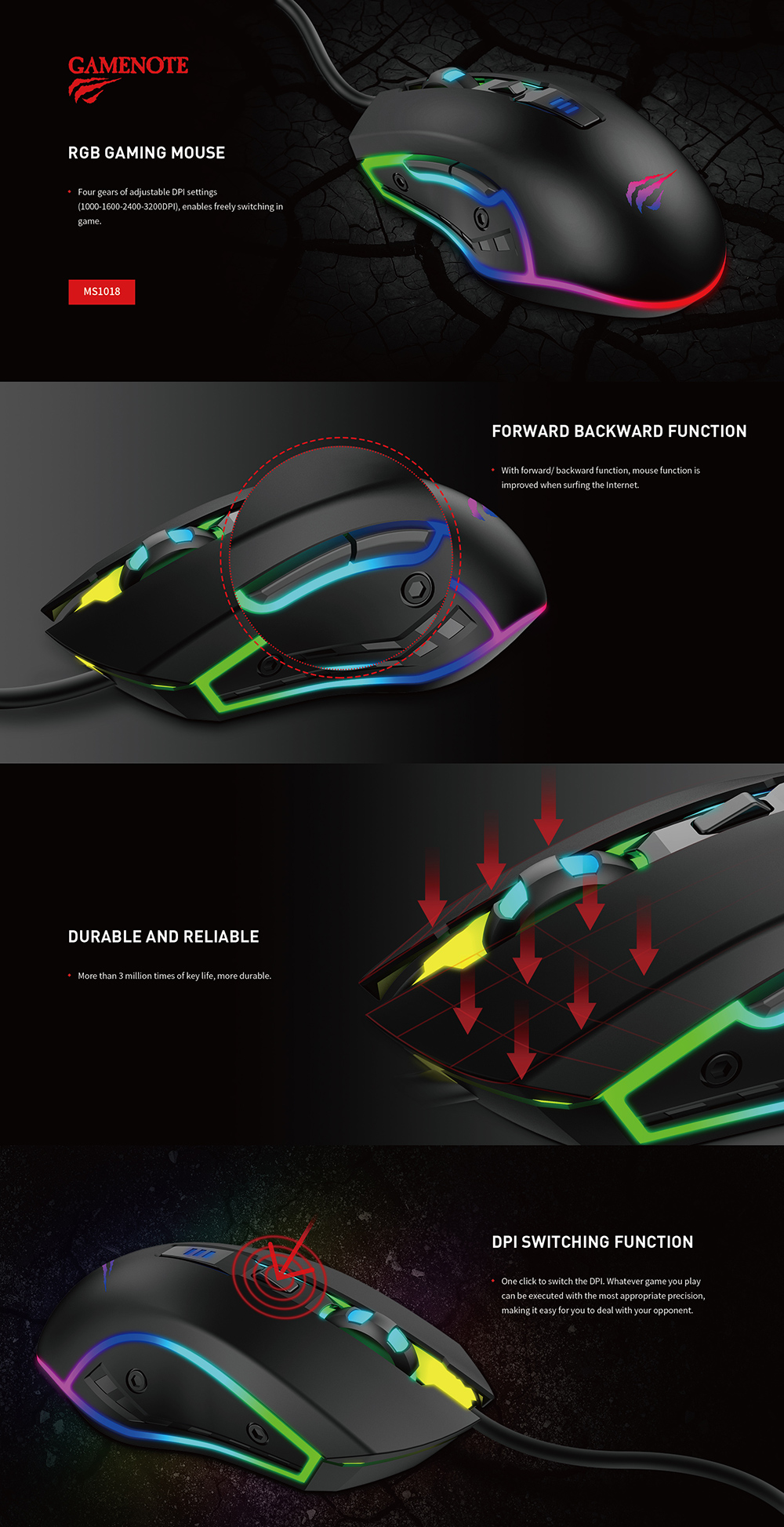 HAVIT GAMENOTE MS1018 Multi RGB Gaming Mouse 6 Buttons - 3200DPI